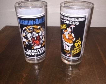 2 Pepsi Circus glasses Ringling Brothers Barnum and Bailey
