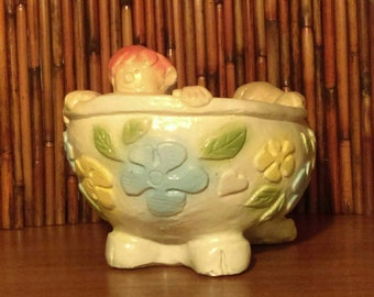 Vintage Rare 1970's Mylo Clay Kids in a Claw Foot Tub with Retro Flowers and 3 kids with red/orange hair-Rare Mylo Clay Planter Inglewood CA
