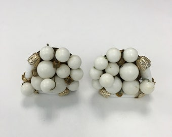 Vintage White and Gold Tone Earrings