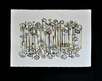 ORIGINAL painting on fine cotton paper black and gold