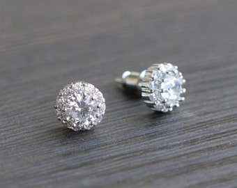 Bridal Stud Earrings, Crystal Button Earrings, Wedding  Stud Earrings, Small Wedding Earrings, Round Stud Earrings, Crystal Stud Earrings