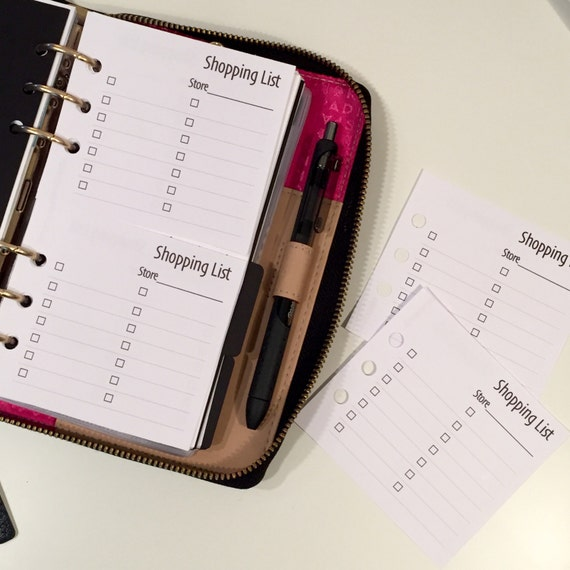 Mini Shopping List Printed Personal Planner Inserts