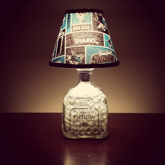 Handmade LED San Jose Sharks vs. Patron Tequila Liquor Bottle Lamp