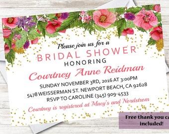 Watercolor Bridal Shower Invite 5X7 Invitation Digital Flowers Gold Personalized