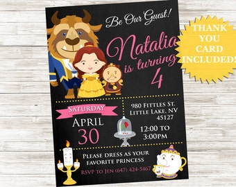 Belle Beauty and the Beast Inspired Invite 5x7 Invitation Digital Princess Birthday Party