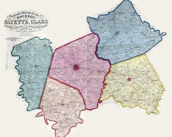1861 Map of Bourbon Fayette Clark Jessamine & Woodford County Kentucky
