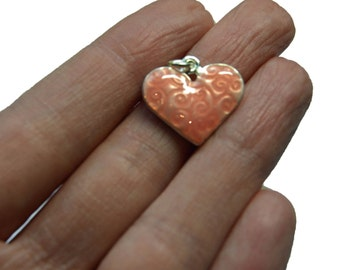 Pink / Peach 16mm Heart Charm Silver Plated