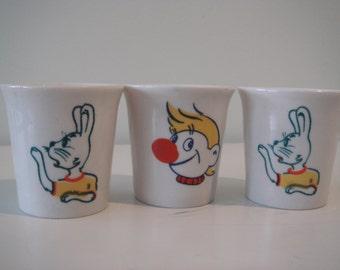 "Soviet Vintage Little Ceramic Vodka Cups, Set of 3, ""Nu, pogodi"" and Clown and Cat Images, made in USSR."