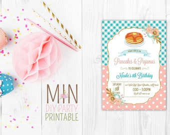 Cute pancake invite,Pancakes and PJs Party, Pancakes and Pajamas Party, Pancakes Invitation, Pancakes Invite and Party Decor