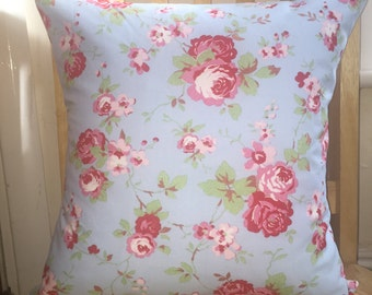 floral cushion cover, floral pillow cover, blue pillow cover, blue cushion cover, rose cushion cover, rose pillow cover