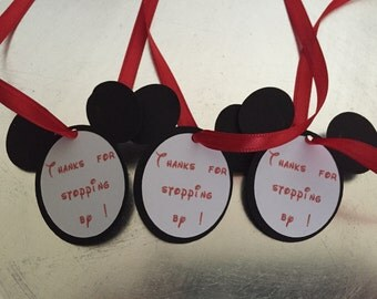 12 Mickey Mouse Favor Tag with Ribbon