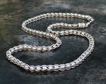Bali sterling silver wire chain necklace. Linked snake chain.