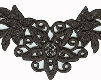 """5 5/8"""" by 2 3/4"""" Black Venice Applique Floral Sewing Craft Supplies w/ Free Shipping"""