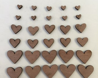 30 x Wooden Heart Shapes // 3 Different Sizes Included: 1cm / 2cm / 3cm // STYLE 1