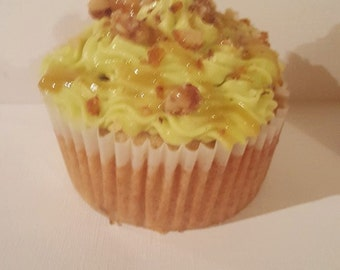 Apple Cake with Caramel Cream cheese frosting, candied walnut crumber, caramel drizzle
