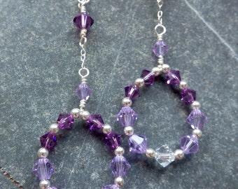 Swarovski Purple Hoop Drop Earrings - Sterling Silver Swarovski Earrings,Round Hoop Earrings, Large Drop Earrings, Purple Crystal Earrings,