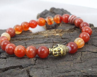 Bracelet Buddha and Red agate