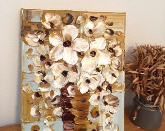 Floral vase, oil painting, Impasto