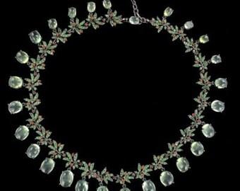 Necklace green garnets Orange sapphires prehnites
