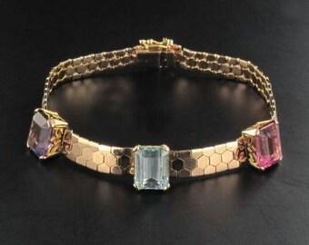 Bracelet gold pink Amethyst aquamarine tourmaline