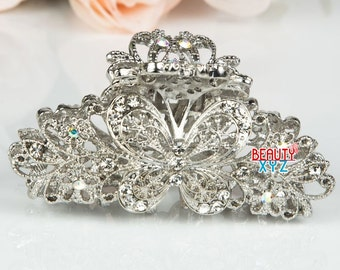 Large silver color metal butterfly crystal hair claw clip