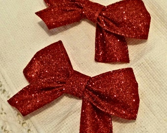 Sparkly Red Hair Bow Set