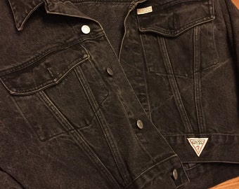 Vintage Guess by Georges Marciano Black Denim Jacket