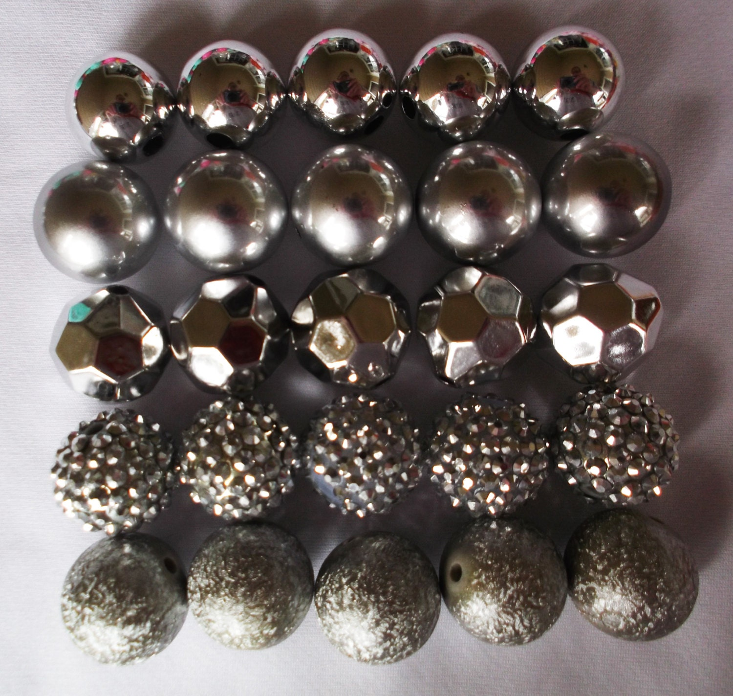 20mm Bead Beads: Set Of 25 20mm Silver Bubblegum Bead Set Bubblegum Bead