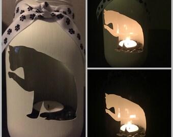 Cat #3 Mason Jar Tea Light Candle Holder