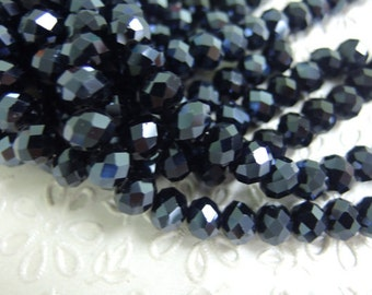 8x10mm Rondelle Crystal Hematite Color Beads 15 inch