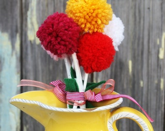 Yarn Pom Pom Flowers Bouquet