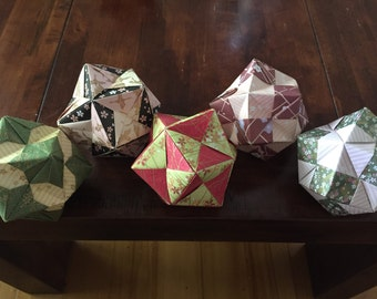 Modular Origami ball ornaments, Set of 5
