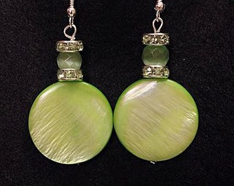 Green mother-of-pearl earrings