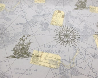 Blue Antique, Vintage Map & Nautical Boats 100% Cotton Poplin Printed Fabric.