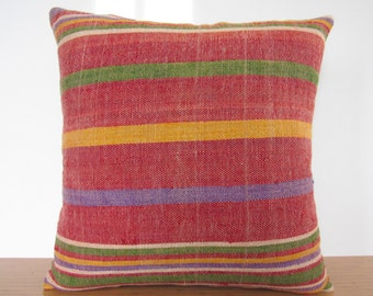 Bigger Size Vintage Kilim Pillow 20 x 20 Home Decor Turkish Lumbar Asian Pillow Kilim Cushion Multi Color Hand Woven Kilim Rug Pillow cover