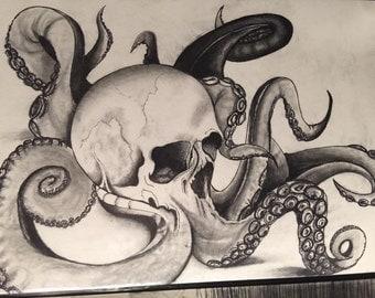"Original charcoal drawing titled ""Burdened"""