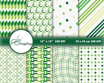 SALE Green Digital Papers, scrapbook papers, stripes lines, dots, Digital Patterns, instant download 230