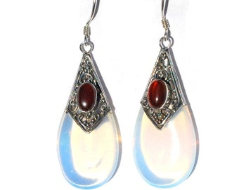 MoonStone and Carnelian TearDrop Earrings