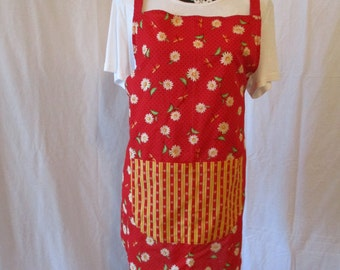 Women's Sally Style Apron, Red Daisies
