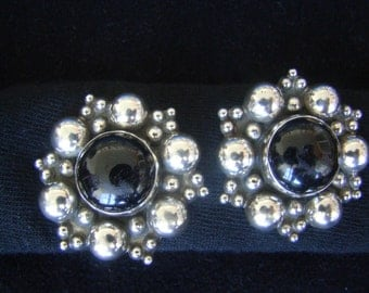 Frida Kahlo-esque Clip Earring Mexican Sterling Silver and Obsidian Vintage Clip On Earrings