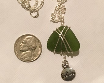 Olive Green Seaglass with Believe Charm