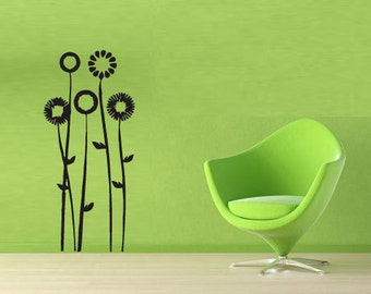 rvz064 Wall Vinyl Sticker Decals Beautifull Flower Interior Decal