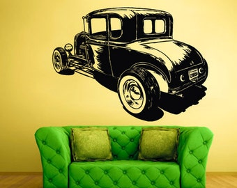 rvz1481 Wall Decal Vinyl Sticker Hot Rod Car Auto Automobile Retro Old Muscule