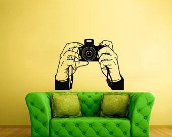 rvz1648 Wall Decal Vinyl Sticker Photo Camera Canon Nikon Hands Studio Salon