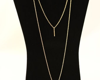 Gold Vertical Bar Necklace, Double Chain Necklace, Vertical Bar Pendant Necklace.