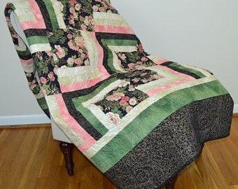 Oriental Floral, Black and Pink Log Cabin Variation Quilt