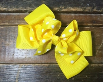 "Yellow 4"" hairbow"