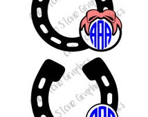 Horse shoe monogram svg,horse shoe,monogram,monogram frame,horse shoe frame svg,riding, horses,monograms svg, derby,country,bow
