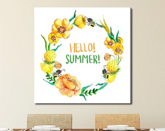 Hello Summer Wreath, Tropical Watercolor Gallery-Wrapped Canvas