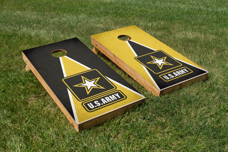 Army Cornhole Board Decals Black Yellow